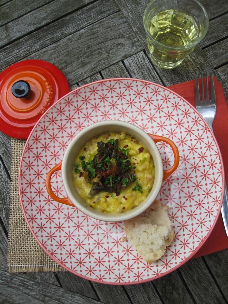Pompoengerechten - Fregolarisotto met boschampignons en chorizocrumble