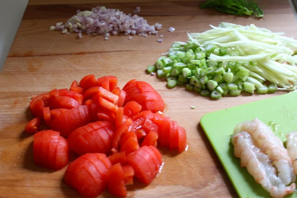 Ingrediënten voor luxueuze pasta met zeevruchten