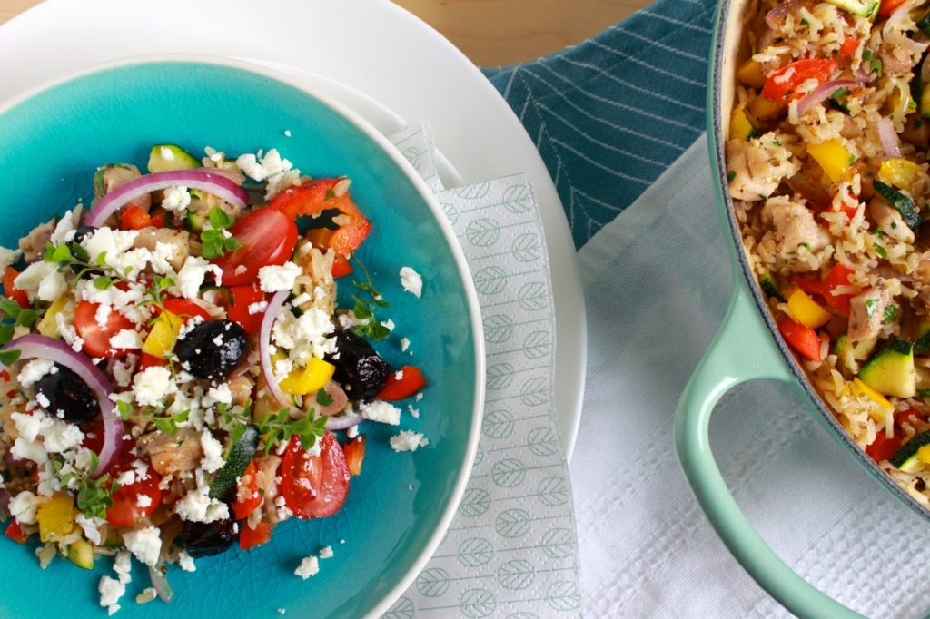 Griekse rijstschotel met kip