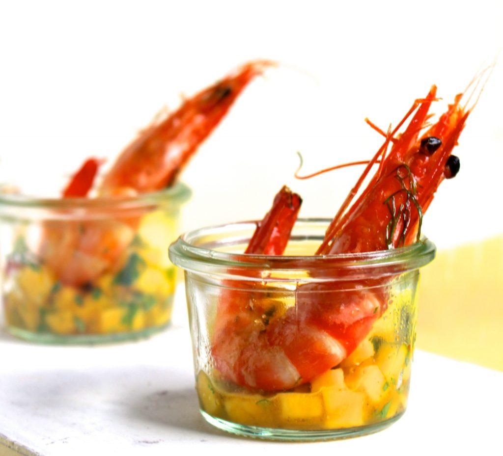 Gegrilde gamba's met mangosalsa / www.eenlepeltjelekkers.be