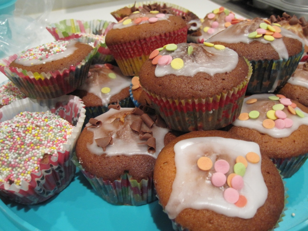 Cupcakes en chocolade-pistachefudge