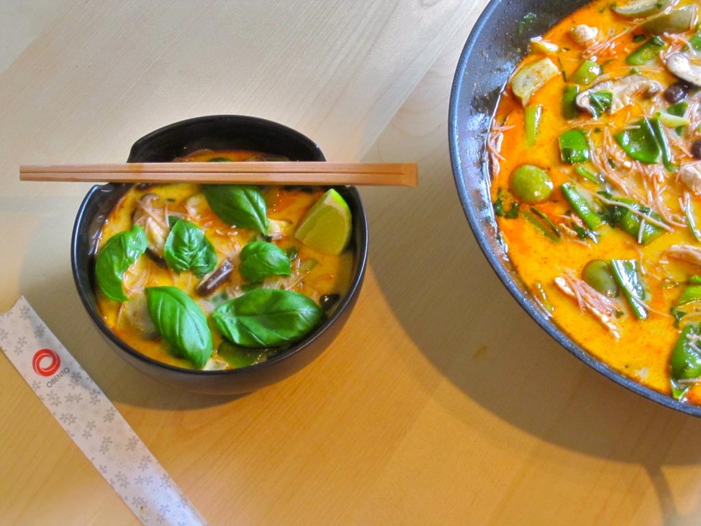 Laksa van kalkoen met Thaise aubergine