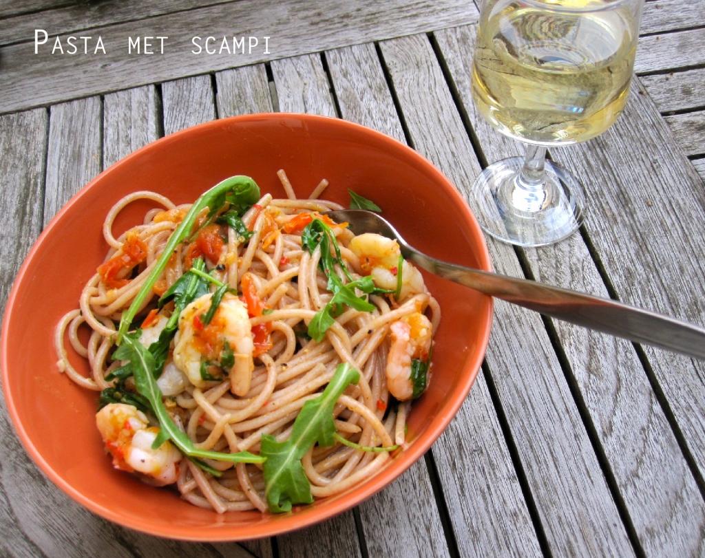 Spaghetti met scampi