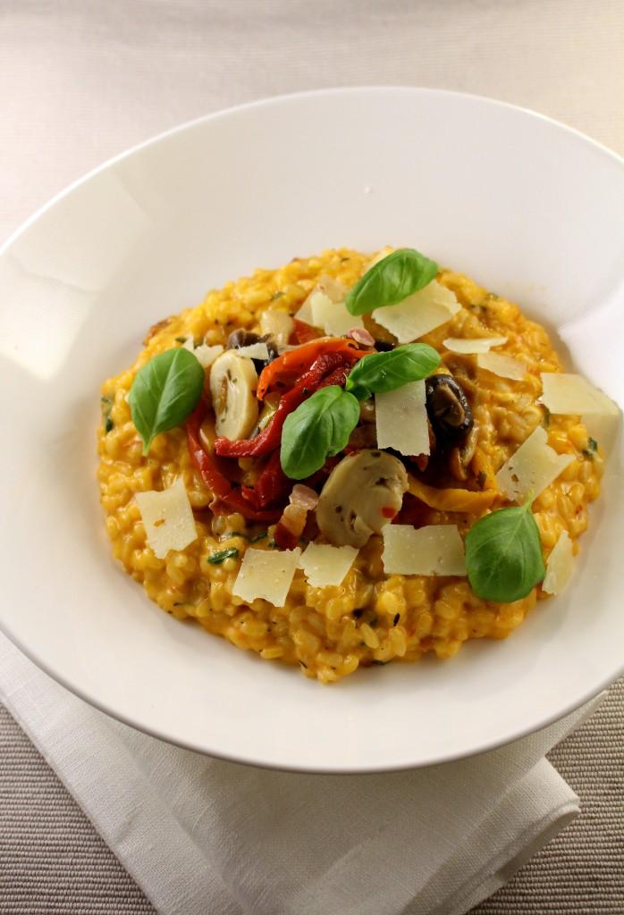 Risotto met paprika en champignons