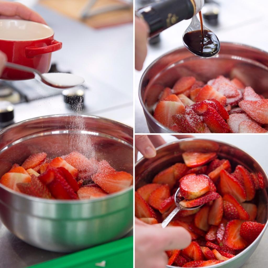 Aardbeien marineren