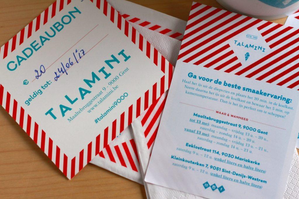 Talamini cadeaubon / www.eenlepeltjelekkers.be