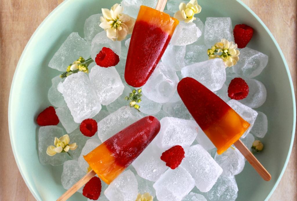 Framboos mango ijsjes