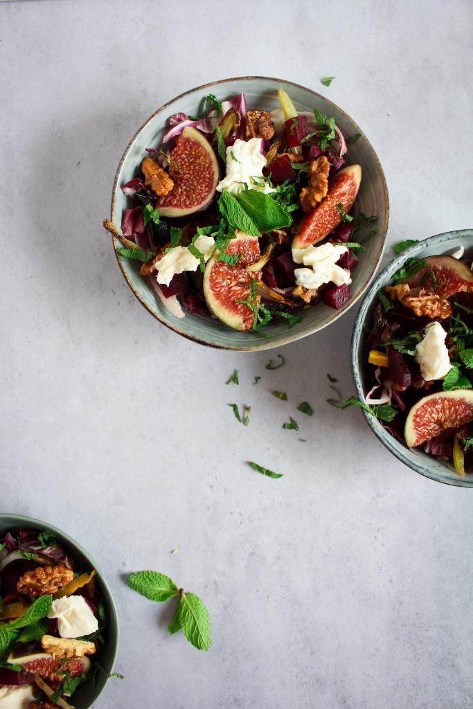 Salade met vijgen en geroosterde groenten