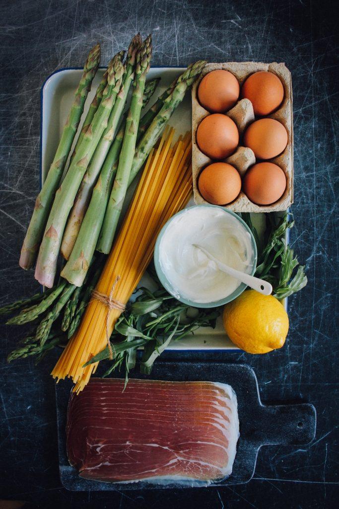 Ingrediënten voor linguine met Ganda Ham en groene asperges / www.eenlepeltjelekkers.be