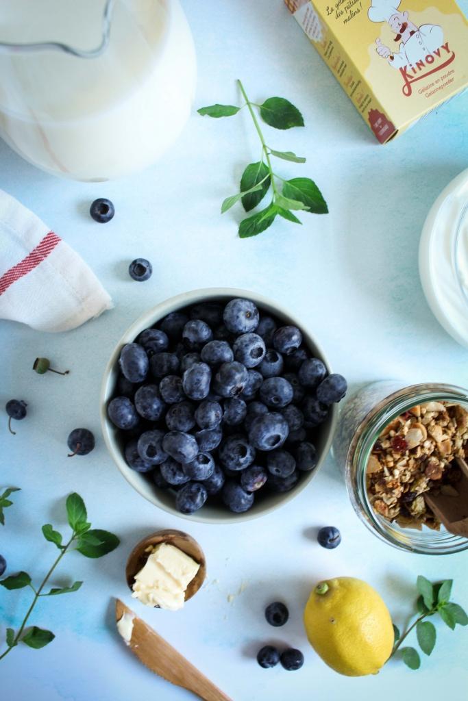 Ingrediënten taart van Griekse yoghurt met bosbessencompote / www.eenlepeltjelekkers.be