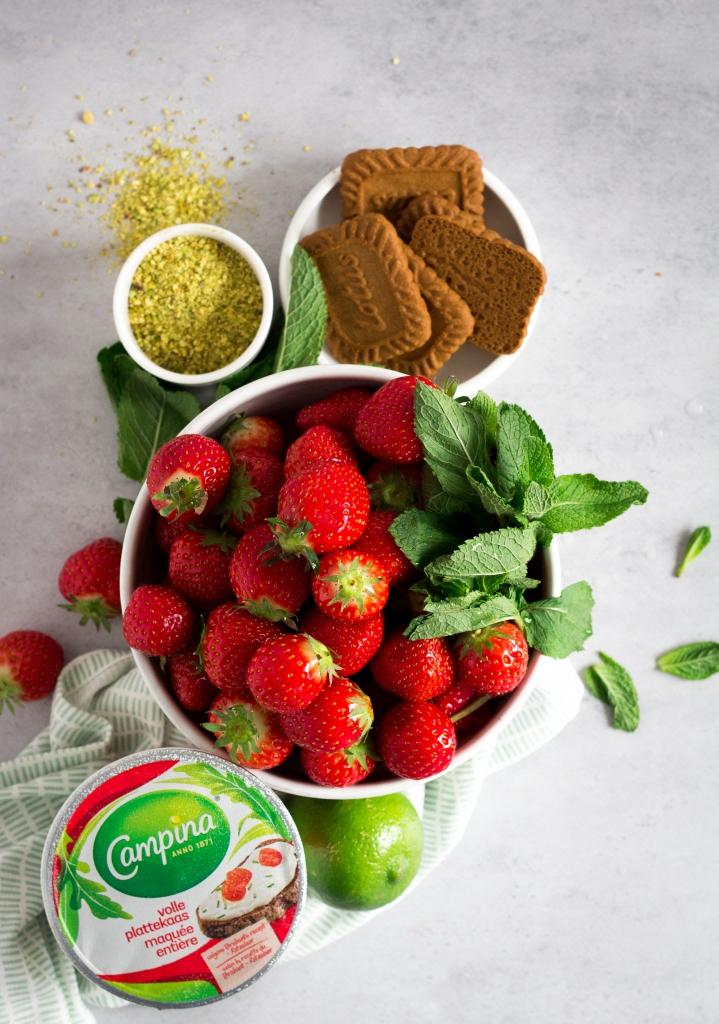 Plattekaastaart met aardbeien - ingrediënten / www.eenlepeltjelekkers.be
