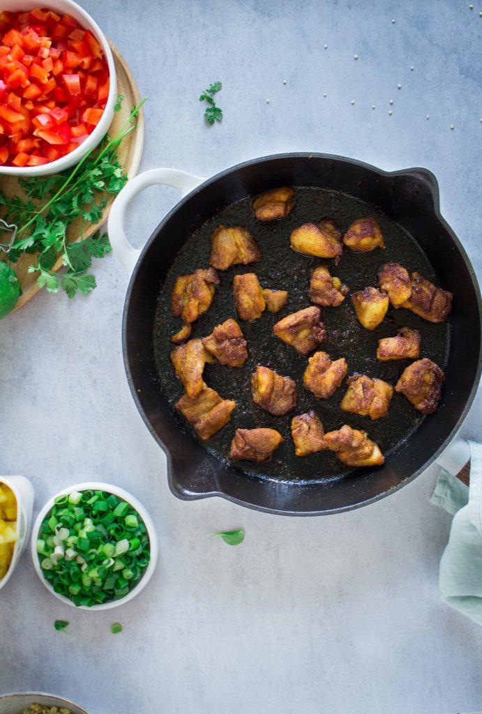 Kip bakken en mengen met paprika / www.eenlepeltjelekkers.be