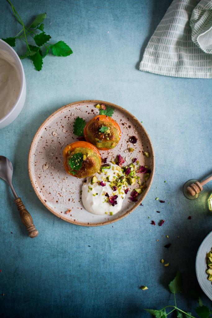 Gegrilde abrikozen met pistache en vanilleroom / www.eenlepeltjelekkers.be