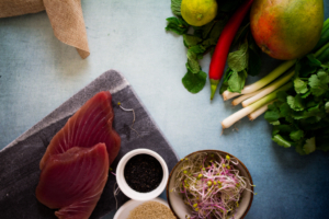 Ingrediënten Thaise tonijntartaar / www.eenlepeltjelekkers.be