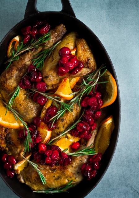 Parelhoen met sinaasappel en cranberry's / www.eenlepeltjelekkers.be