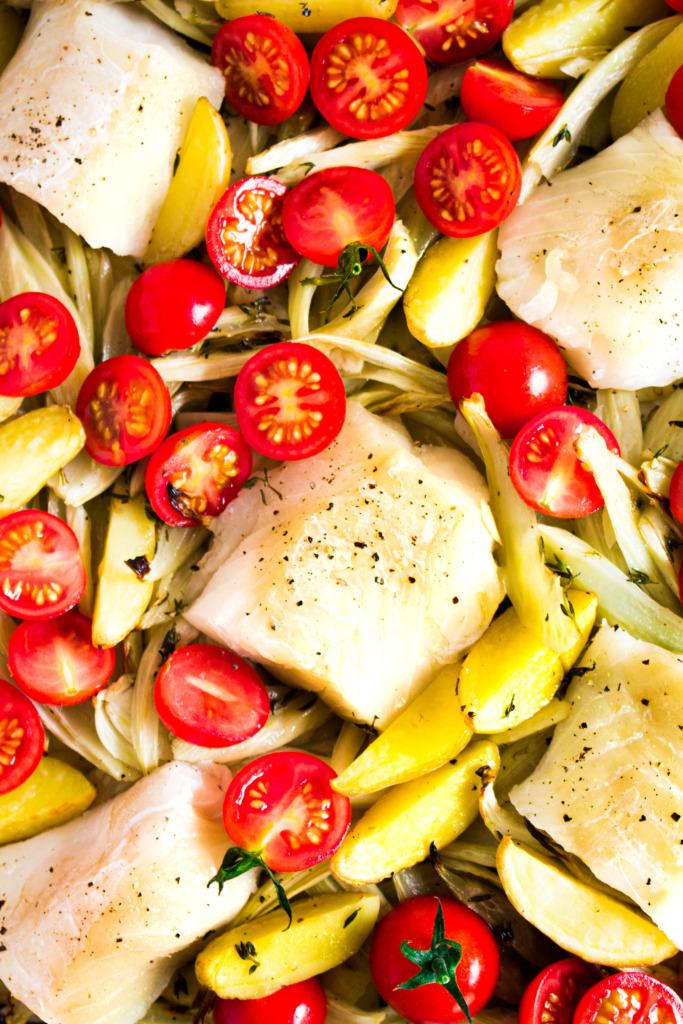 Kabeljauw, tomaten, venkel en krieltjes_closeup / www.eenlepeltjelekkers.be