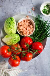 Ingrediënten hapje met garnalen / www.eenlepeltjelekkers.be