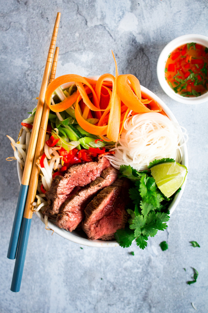 Vietnamese noedels met filet pur