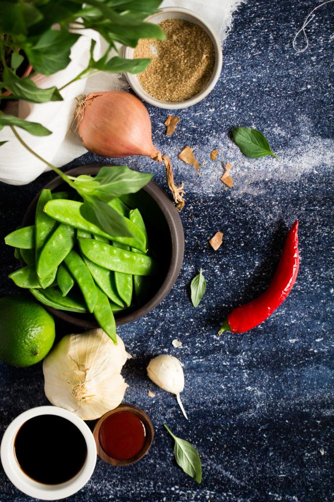 Ingrediënten wok met kip, gember en sojasaus / www.eenlepeltjelekkers.be